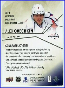2015-16 SP Authentic Limited 1/25 ALEX OVECHKIN #1 ON CARD AUTO NICE! Capitals