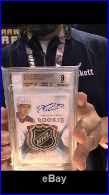 2015-16 UD Exquisite Connor McDavid RC NHL Shield Logo Patch AUTO 1/1 BGS 9.5