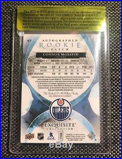 2015-16 UD THE CUP CONNOR McDAVID EXQUISITE ROOKIE AUTO PATCH 54/97 BECKETT 9,5