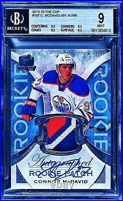 2015-16 UD The Cup #197 Connor McDavid RC 3-Color RPA 33/99 BGS 9 with 10 AUTO