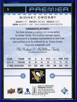 2016-17 Ud Premier Blue Spectrum Sidney Crosby Auto 4/5 Rare Autograph On Card