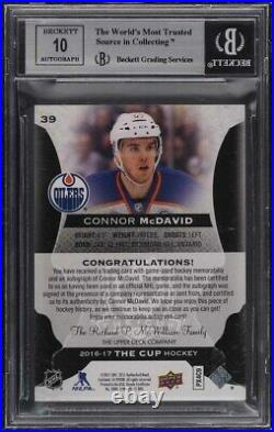2016 The Cup Black Shield Connor McDavid RC PATCH AUTO 1/1 #39 BGS 9 MINT