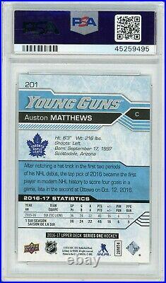 2016 Upper Deck #201 Auston Matthews Mint 9 Psa Young Guns Graded Cards