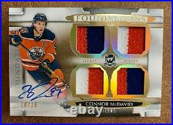 2018-19 UD THE CUP CONNOR McDAVID FOUNDATIONS AUTO JERSEY 3CLR 09/15 RARE