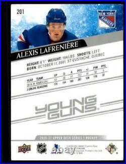 2020-21 UD Series 1 Base Young Guns #201 Alexis Lafreniere RC New York Rangers