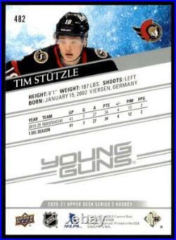 2020-21 UD Series 2 Base Young Guns #482 Tim Stutzle RC Ottawa Senators