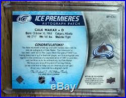 Cale Makar Rookie Auto Patch SSP SP /10 Upper Deck Ice Premiers NHL CO Avalanche