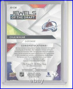 Cale Makar auto patch card /99 2019-20 Black Diamond Jewels Draft NM- Avalanche