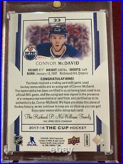 Connor McDavid 2017-18 Panini The Cup Ruby Red Game Used Patch On Card Auto 4/4