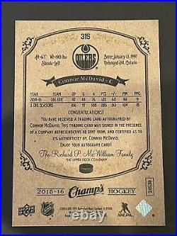 Connor Mcdavid 2015-16 Upper Deck Champs ON CARD Rookie RC Auto RARE