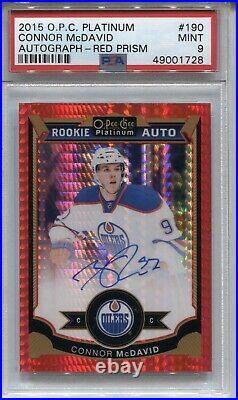 Connor Mcdavid Psa 9 2015 O Pee Chee Opc Platinum Red Prism Rookie Auto /75 1728