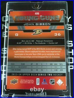 John Gibson Rc Young Guns High Gloss 06 /10 Rookie Card 2013/14 Upper Deck