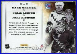 MESSIER LEETCH RICHTER 2012-13 Panini Prime Signatures Triple ON CARD Autos 8/10
