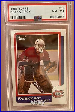 PATRICK ROY 1986 Topps Hockey ROOKIE Card #53 RC PSA 8 NM-MT Montreal Canadiens