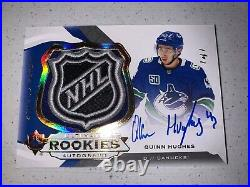 Quinn Hughes 2019-20 UD Ultimate Rookie RC SHIELD Auto 1/1 Vancouver Canucks