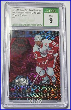 RARE Steve Yzerman /100 PMG Red Precious Metal Gems Hockey Card CSG 9 Mint Grade