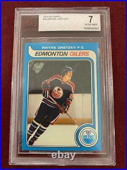 Wayne Gretzky 1979 Topps Rookie Card RC BVG 7 NM Rangers Oilers