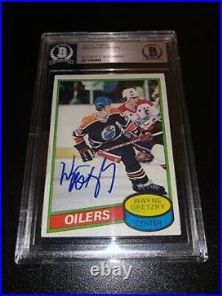 Wayne Gretzky Signed 1980-81 Topps Card Edmonton Oilers BAS Slabbed